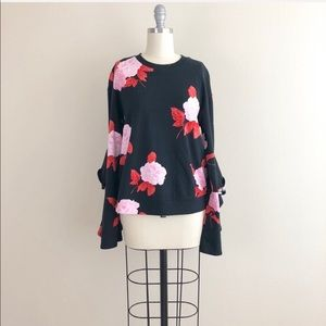 Who What Wear Floral Ruffle Sleeve Sweater